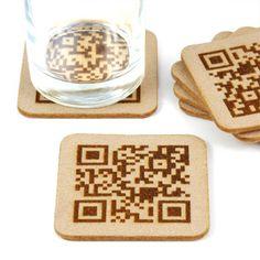 Housewarming gift idea - custom QR code coasters
