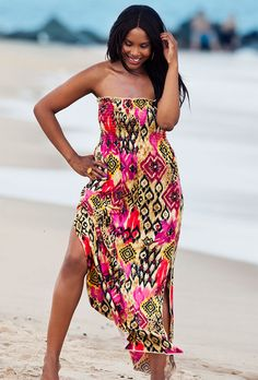 Cameroon Plus Size Smocked Maxi Dress