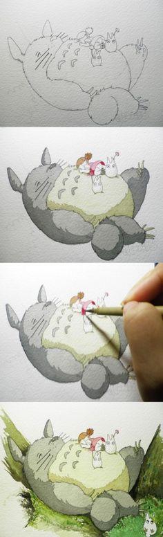 Totoro With Other Totoro Watercolor Watercolour Tutorials, Watercolor Techniques, Illustrations, Illustration Art, Manga Art, Anime Art, Chihiro Y Haku, Inspiration Artistique, Accel World