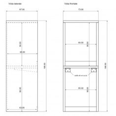 Veca srl produces and sells online Column cover with doors for washing machine - Bathroom furniture - Laundry, made of wood, to cover household appliances