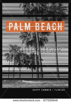 Photo print Florida beach illustration, tee shirt graphics, palm beach typography Santa Monica, Beach Illustration, Happy Summer, Florida Beaches, Sports Illustrated, Palm Beach, Typography Design, Surfing, Neon Signs