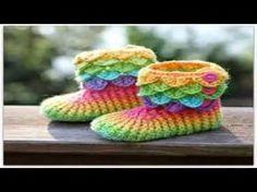 How to Crochet Crocodile Stitch Booties Part II - YouTube