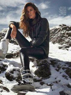 WINTER SKI SNOWBOARDING LOOK INSPIRATION ELLE SPAIN ESPANA Model: Nadejda Savcova  Photographer: Xavi Gordo  Styled by: Inmaculada Jimenez  ...