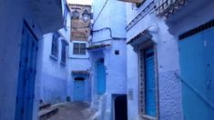 """Chefchaouen is a small town surrounded by Rif Mountains in Morocco. What makes this place famous is, """"blue!"""" Explorer the blue streets in medina (old downtow. Small Towns, Morocco, Let It Be, Explore, Mountains, Street, Places, Youtube, Travel"""