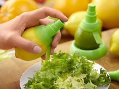 Turn a lemon/lime into a spray bottle.  Love this