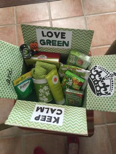 Keep Calm Love Green.  Favorite color care package for female soldier.  College student care package.  Over seas deployment.