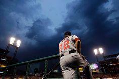 storm clouds over Busch Stadium