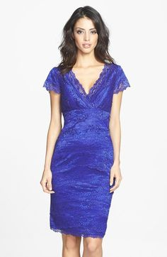 JS Collections Tiered Beaded Lace Sheath Dress available at #Nordstrom