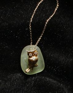 Sea Glass Pendant with 14K Gold Vintage Owl Charm by oceansbounty, $50.00