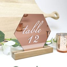 Rose Gold Hexagon Table Number - Acrylic with Timber Base - Printed Wedding Table Decoration - Cafe Restaurant Gold Table Numbers, Wedding Table Numbers, Wedding Tables, Wedding Ideas, Gold Wedding Decorations, Table Decorations, Rose Gold Wedding Dress, Rose Gold Table, Acrylic Table