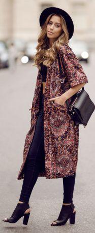 Long kimono summer outfit ideas 23