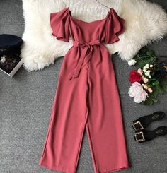 2019 Women Solid Short Sleeve Lace-Up Pocket Waist Wide Leg Jumpsuits Women Slash Neck Elegant Overalls Wide leg jumpsuits outfits 2020 Indian Fashion Dresses, Girls Fashion Clothes, Teen Fashion Outfits, Mode Outfits, Dress Outfits, Girl Outfits, Red Clothing, Jumpsuit Outfit, Fashion Fall