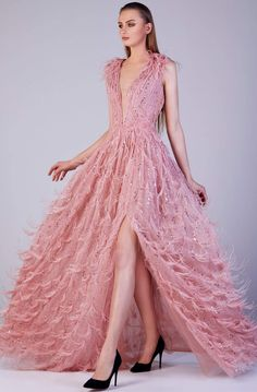 Pink Gowns, Pink Dresses, Ball Dresses, Pretty Dresses, Beautiful Dresses, Ball Gowns, Feather Dress, Perfect Prom Dress, A Line Gown