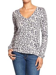 Old Navy Womens Leopard-Print V-Neck Sweaters color: grey size: large (might be in stock in the store)