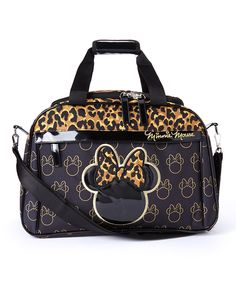 Love this Black & Leopard Minnie Mouse Weekender Bag by Minnie Mouse on #zulily! #zulilyfinds