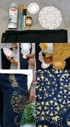 Artesanato na Pratica: Como customizar seus jeans usando toalhinhas descartáveis