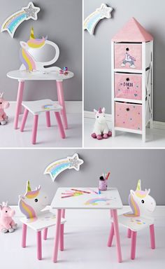 Unicorn Kids Furniture From 99 @ B&M is part of Girls bedroom unicorn - This new unicorn furniture from B&M is selling like crazy right now, and at these prices it's not hard to see why! There are items from just 99 and Unicorn Bedroom Decor, Unicorn Rooms, Unicorn Kids, Unicorn Themed Room, Kids Bookcase, Kids Bedroom Furniture, Furniture For Kids, Little Girl Rooms, Room Themes