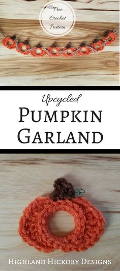 Crochet this Upcycled Pumpkin Garland as a decoration for Autumn, Halloween or Thanksgiving. Also makes great holiday ornament or photo frame. Crochet Pumpkin, Crochet Fall, Free Crochet, Halloween Crochet Patterns, Easy Crochet Patterns, Crochet Ideas, Crochet Designs, Halloween Knitting, Crochet Appliques