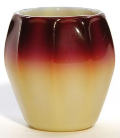 An extremely RARE New England plated Amberina toothpick holder having a deep fuchsia shading to light yellow with nine protruding ribs Massachusetts, circa 1883-1910