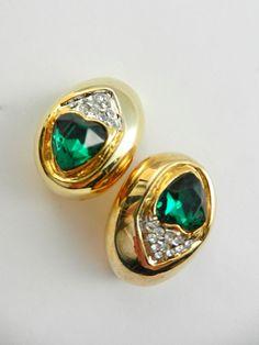 Italian fashion 1970s  hearts emerald earrings  by RAKcreations