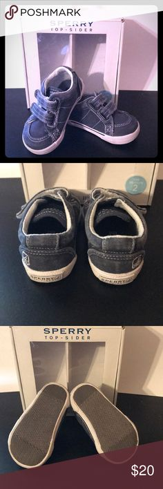 My First Sperry Shoes for Baby Boy Sperry Top- Sider  Great condition- only worn once  Size 2 -will fit a 3-6 month old Navy blue color  Velcro straps  Smoke free home Sperry Top-Sider Shoes Baby & Walker