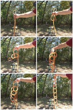 step by step how to store very long extension cords (Shepherd's knot)