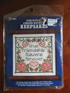 "True Friendship Flowers Forever Counted Cross Stitch Kit Vogart 5 1/2 x 6"" USA #Vogart #CountedCrossStitch"