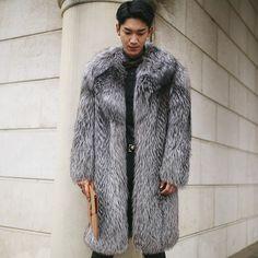 Real fox fur coats for men natural fox fur top luxury fur jacket medium long Russia winter high end New Phoenix 1117G