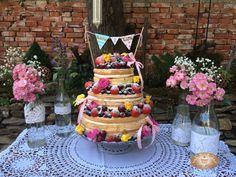 #wedding #cake #nakedcake #naked #cake #roses #fruit #weddingcake #pink #bow #strawberry #raspberry #cherry
