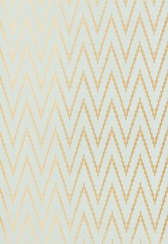 Derived from the Schumacher ikat fabric of the same name, this graphic wallcovering features a lively chevron pattern with a warp-printed appearance. The extensive color range includes sophisticated metallics and exotic bright colors, creating a variety of options for modern and traditional rooms.
