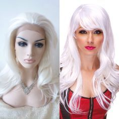 1.  Start with inexpensive white wigs.  You will be hot gluing additional wefts of hair into these wigs.