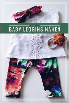 Eine einfache Anleitung wie man Babyleggins näht. Man braucht kein Schnittmuster, denn das macht man einfach selbst!