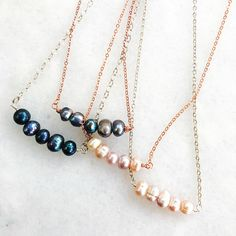 Harriet & Higgs Handmade Jewelry | Pearl Bar Necklace  minimalist  rose gold  blush pearl