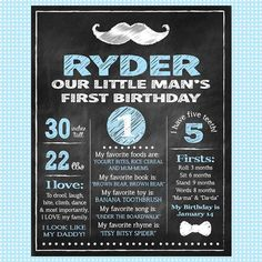 Our Little Man's First Birthday - Chalkboard Birthday Poster - Mustache. From alittlehopedesigns