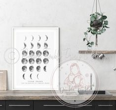 MOON LUNAR PHASES HOME PRINT - A3+ / Moons & Quote - No Background (2)