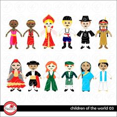 Children of the World Digital Stamps 03 includes a boy and a girl from Kenya, Russia, the USA, Spain, Ireland and India.