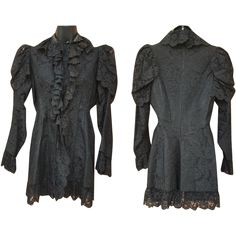 This antique, mid 1880's black lace mourning jacket is a size medium. Measurements in inches: Bust 36, waist 32, Sleeve length from shoulder to cuff
