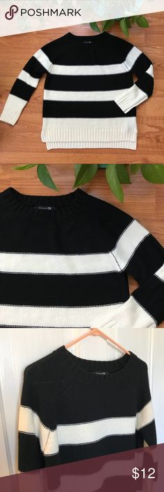 Black and Cream Striped Sweater | Forever 21 Sweater:  • Crew neck and long sleeves • Black and cream stripes  • 100% Acrylic  • Condition: like new! • Great with jeans or leggings. Forever 21 Sweaters Crew & Scoop Necks