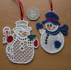 Free Standing Lace embroidered snowmen