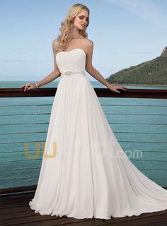 A-line Strapless Chiffon Wedding Dress For Bride - UUknot.com