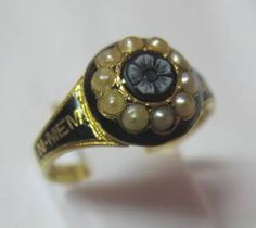 Antique Victorian In Memory 18ct Gold, Agate, Black Enamel and Pearl Mourning Ring - 1866