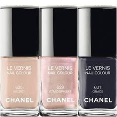Chanel Le Vernis Nail Color Fall 2014 Secret (Nude) Atmosphère (Iridescent Pearl) Orage (Grey Blue)
