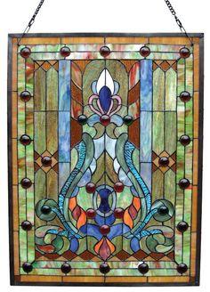 Features:  -Tiffany collection.  -Tiffany style copper foiled glass construction.  -Indoor setting.  -280 Glass pieces.  -30 Cabochons.  -UL approved.  Color: -Multi-colored.  Orientation: -Vertical.