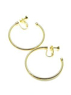 Goudkleurige oorringen, oorclips, creool (4,5 cm)