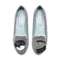 "Silver glitter ""Flirting"" slippers with patent leather and suede embroideries and ton-sur-ton glitter covered heels. Light blue leather lining and insole and silver piping. Made in Italy"