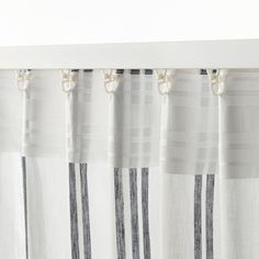 ÄDELSPINNARE Curtains, 1 pair, white, stripe, A perfect solution when you want privacy or want to block annoying glares on TV and computer screens. The outside light still comes through and creates a cozy atmosphere in the room. Off White Curtains, 108 Inch Curtains, Tassel Curtains, Striped Curtains, White Kichen, Farmhouse Kitchen Curtains, Curtain Rods, Modern Bedroom, House Styles