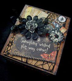 TPHH Debi Primitive HALLOWEEN Premade box wood Spell Book mini Scrapbook album  #MyMindsEye