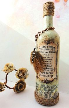 Isabelle- French Chic- Vintage Inspired Bottle with French Label and Accent Feather
