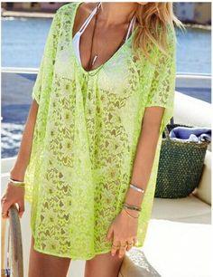 57a45a7987 Sexy Women Beach Casual Bathing Bikini Cover Up Dress Lace Crochet Short  Sleeve Sponsored By: Grandma's Crochet Shop