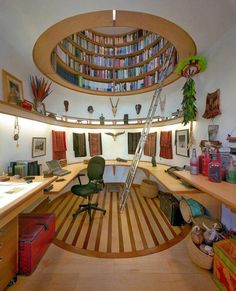 Awesome Home Library Design ♥
